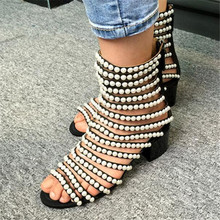 New Fashion Pearl Beading Women Boots Cut Outs Sandals Summer Boots Shoes Woman High Heels Women Ankle Boots Booties Botas Mujer