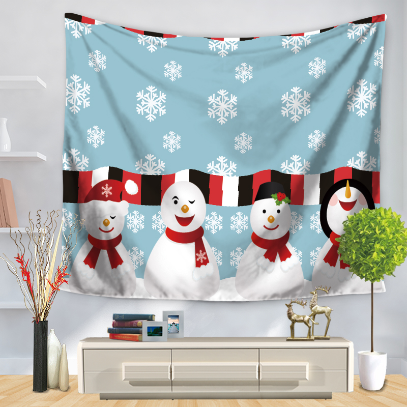 New Cartoon Christmas Tapestry Wall Hanging Beach Towel Blanket Mat Santa Claus Snowman Elk Childrens Room Home Decoration Gift