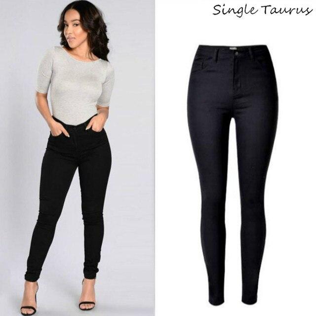 405faa72be60 Visualizzza di più. 2019 A Vita Alta Dei Jeans Neri Delle Donne Del Cotone  Sexy Push Up Skinny Jeans