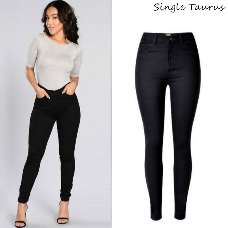 2019 High Waist Black   Jeans   Women Cotton Sexy Push Up Skinny   Jeans   Femme High Stretch Pantalon Femme Fashion Wild   Jeans   Mujer