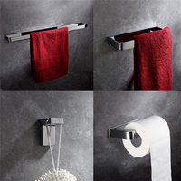 Leyden 4pcs Towel Bar Towel Ring Robe Hook Toilet Paper Holder Wall Mounted Solid Brass Bath Hardware Bathroom Accessories Set