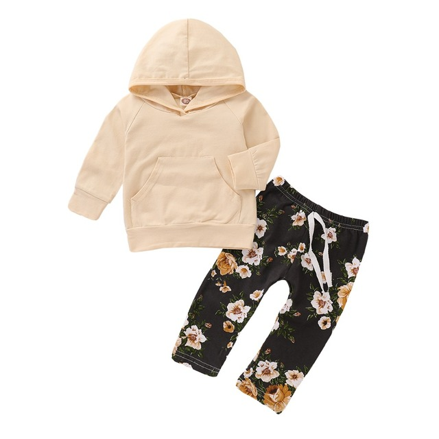00312dfd7 Elegant floral Baby Girls Clothes Cartoon Baby Boys Clothes Pajamas Toddler  Children's Clothing Sets (Clothes + Pants)2 PCS