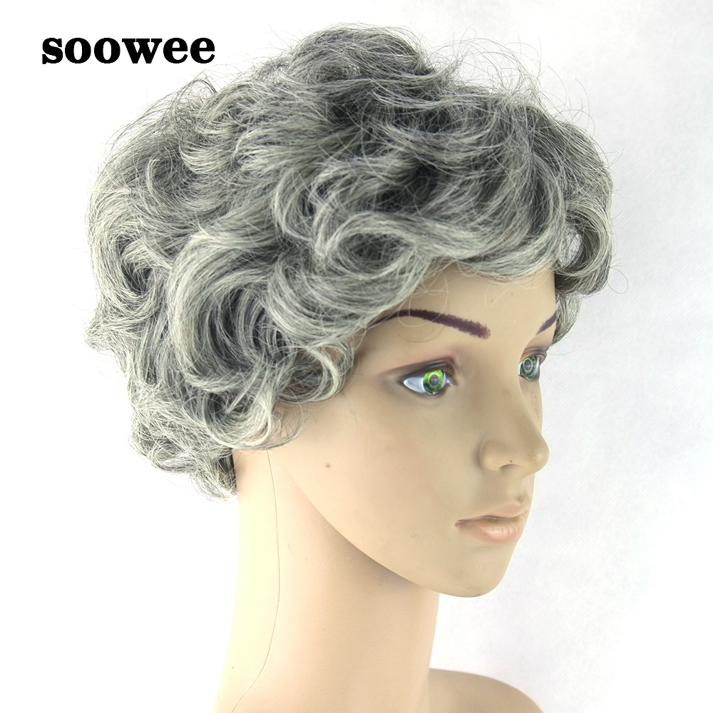 Soowee Gray Hair Wig Black Mix White Synthetic Hair Short Curly Grey Aged Style Cosplay Wigs For Men And Women
