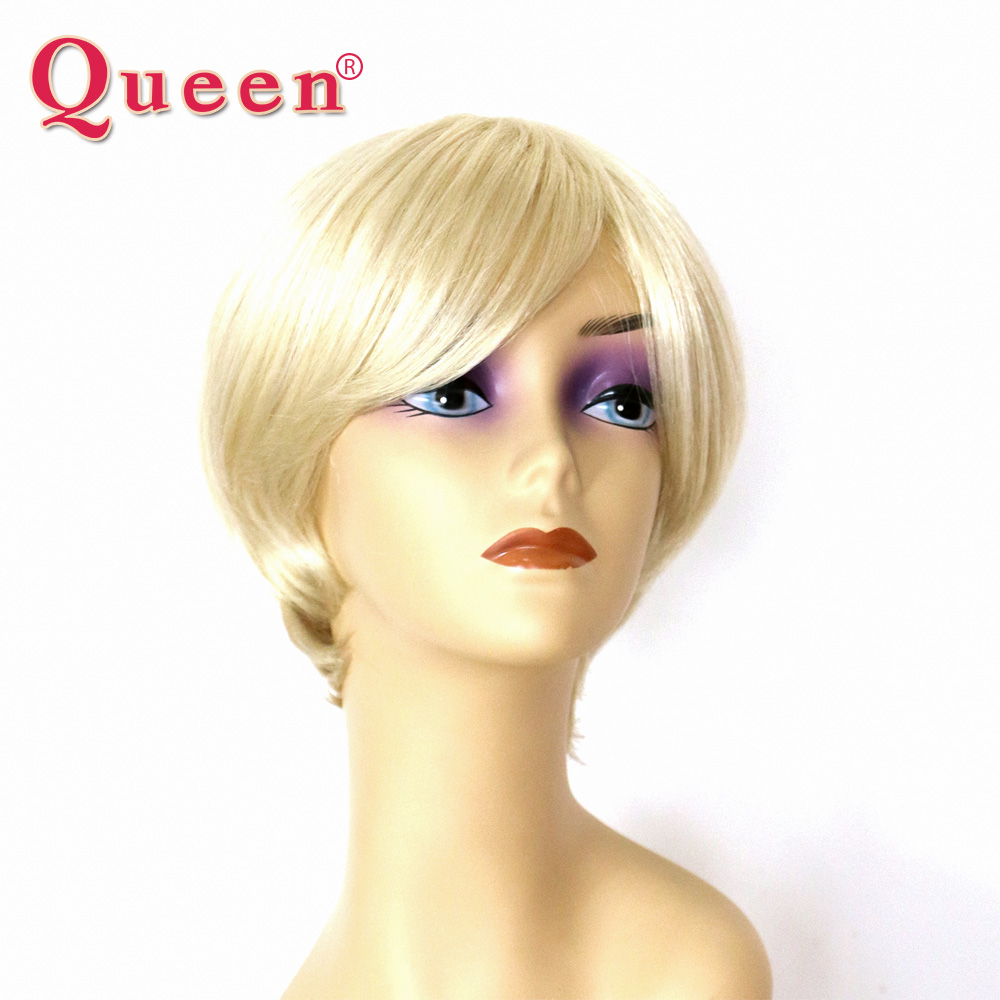 Queen Brand Brazilain Straight Short Human Hair Lace Front Bob Wigs For Black Women Full 613# Blond Remy Hair Bleached Knots