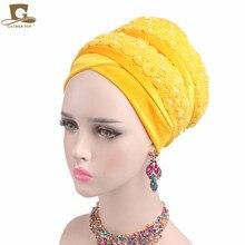 חדש אופנה יוקרה נשים קטיפה טורבן 3D חרוזים פרח ארוך במיוחד ראש כורכת חיג אב ראש צעיף מטפחת