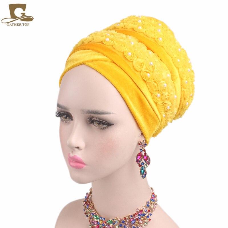 New fashion Luxury women Velvet turban 3D beaded flower Extra Long Head Wraps Hijab Head Scarf headscarf