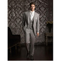 2016 Custom Made Gray Men Suits For Wedding Groomsman Tuxedos Formal Blazers 3 Pieces