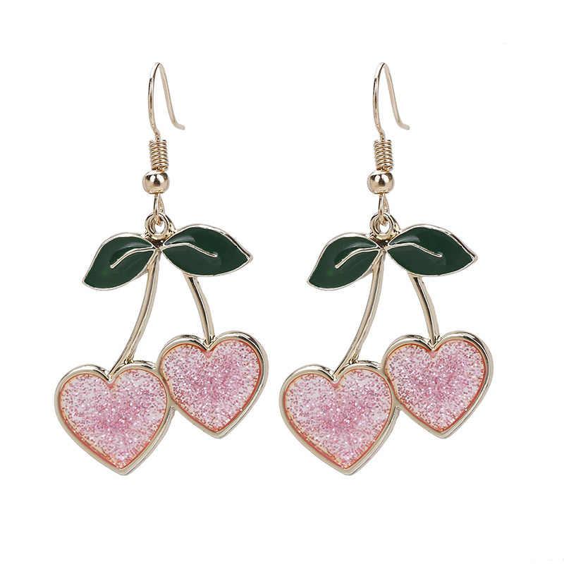 Rose pink glitter acrylic. HEART drop earrings