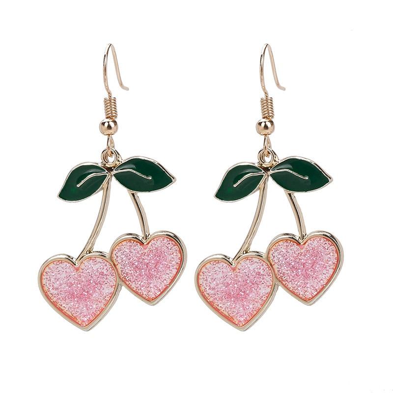 Sweety Fruit Cherry Drop Earrings for Women Girls Shining Pink Heart  Hanging Dangle Earrings Femme Fashion Jewelry Gifts|Drop Earrings| -  AliExpress