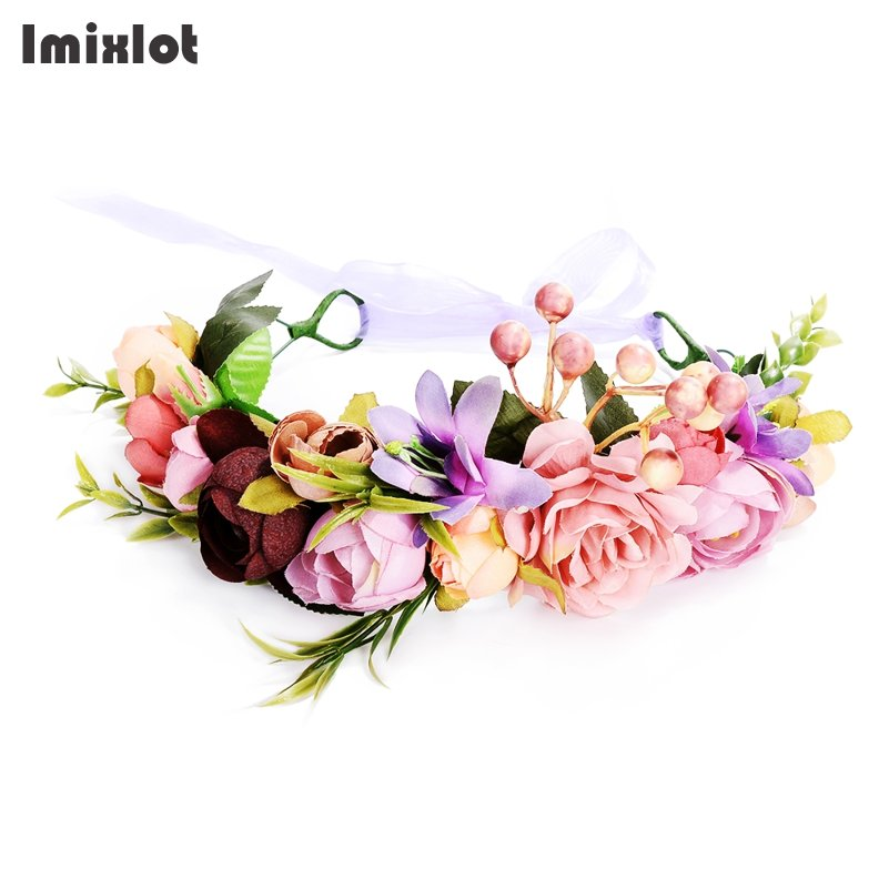Imixlot 2017 New Fashion Wedding Hair Accessories Colorful Wreath Tiaras Flower Headband Women Crown Bridal Hairbands metting joura vintage bohemian green mixed color flower satin cross ethnic fabric elastic turban headband hair accessories
