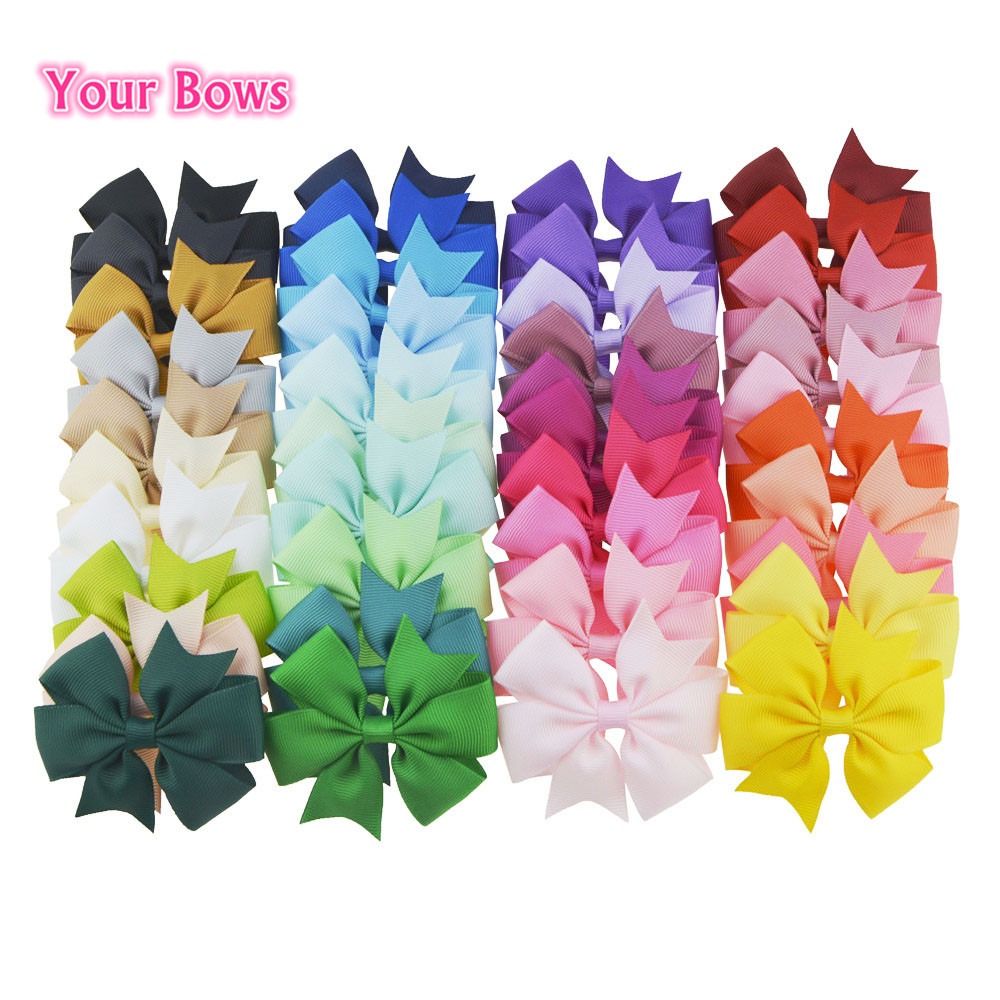 You Bows 20pcs/40pcs 3Inch Polyester Girls Hair Bows Hairpins Fastion Boutique Solid Bows Hair Clips Children Hair Accessories