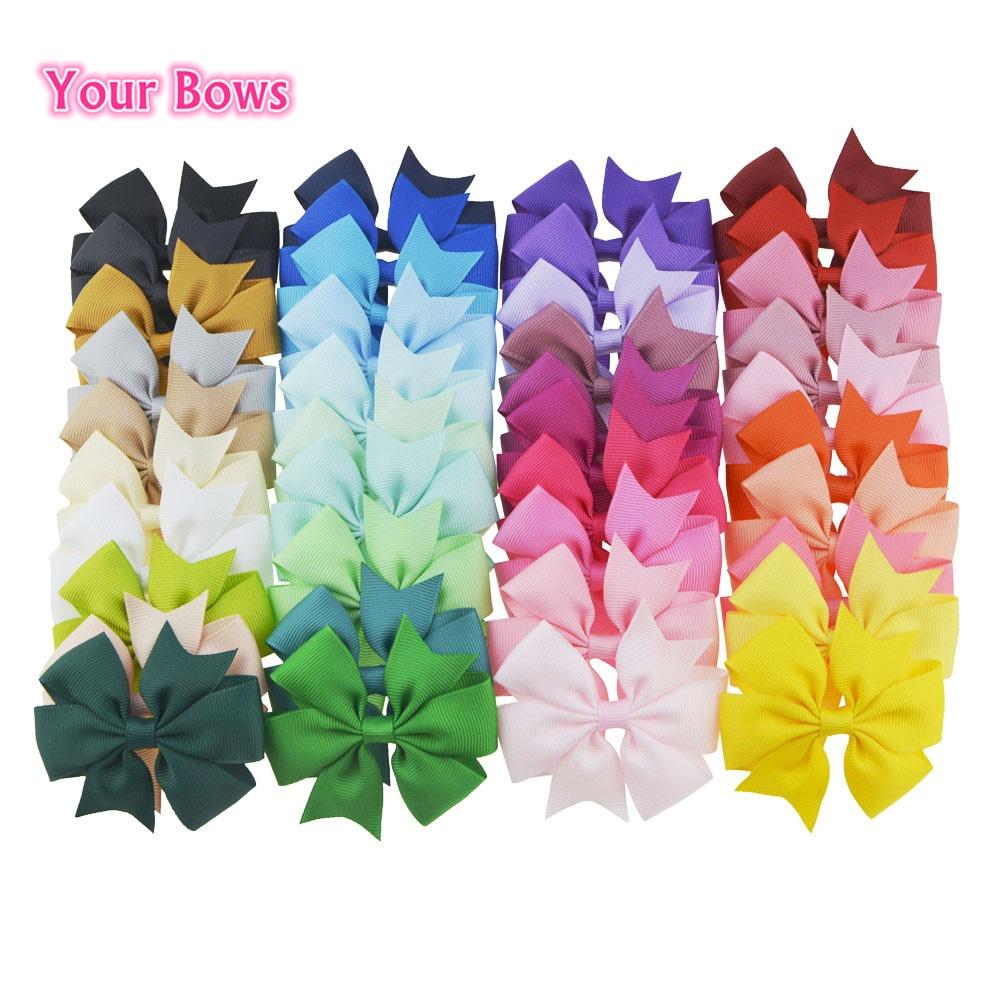 You Bows 20pcs/40pcs 40Colors 3inch Grosgrain Ribbon Hair Bows Hairpins Girls' Boutique Pinwheel Hair Clip Kids Hair Accessories