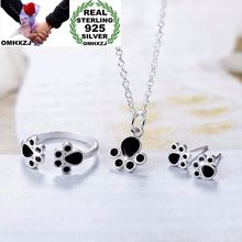 OMHXZJ Wholesale Personality Fashion OL Woman Black Cat Claw 925 Sterling Silver Stud Earrings+Ring+Necklace Jewelry Set SE17