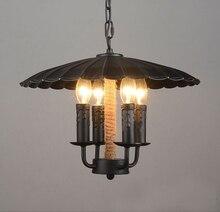 Europische Retro 4 Kopf Kerze Pendelleuchte Metall Lampenschirm Hanfseil Eisenkette Hngelampe E14 Schmiedeeisen Wohnzimmer Zi