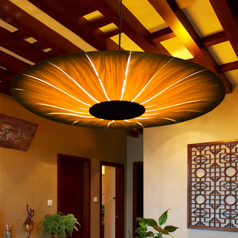 Bamboo 70cm New arrival veneer Wood pendant lamps circle pendant light 1119 pendant light ZZP new arrival modern chinese style bamboo wool lamps rustic bamboo pendant light 3015 free shipping