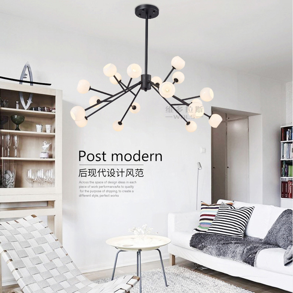 modern hand blown glass lampshade chandelier lighting vintage E27 AC 110V 260V hanging chandelier lamps for dining room