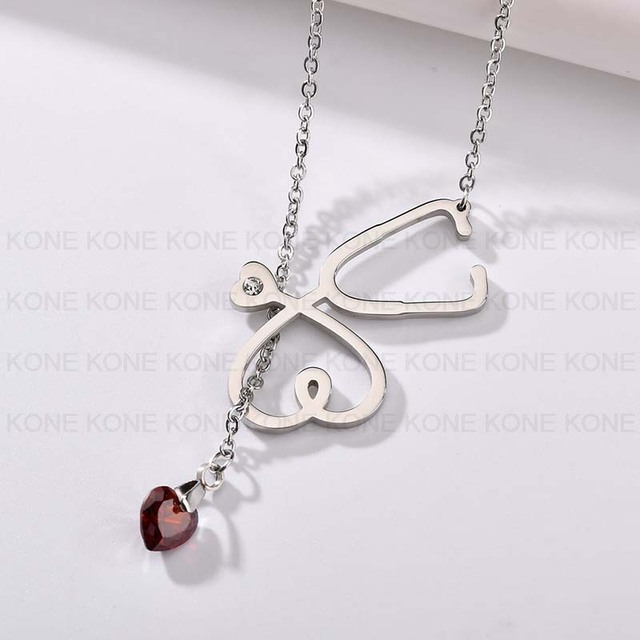 Uzone Stethoscope and Heart Cz Pendant Necklace Nurse Doctor Medical Students Graduation Men Women Unisex Stainless Steel Jewelr