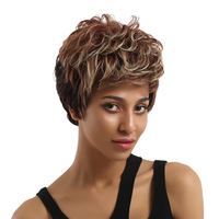 ELEMENT Synthetic Blend Hair Wig Ombre Short 6 Highlights 2 Tone Short Straight Layered Wigs with Side Fringe for Black Women