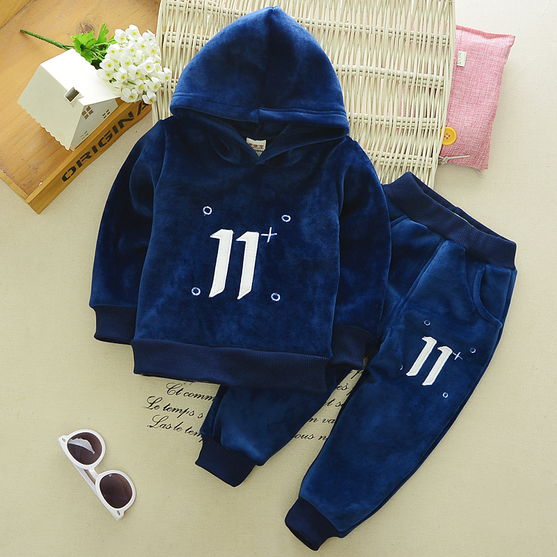 2 pcs baby boy clothing set baby navy blue long sleeve warm velvet jacket boys hooded coat pants girls hoodies kids trousers