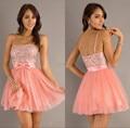 Venta caliente rosado lindo corto de baile Sexy correa de espagueti sin tirantes Mini partido de tarde vestidos Pretty con cuentas de baile vestidos