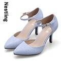 Nuevo 2016 moda primavera verano fiesta de la alta calidad de la correa del tobillo brillante de cuero nobuck mujeres bombas tacones altos zapatos D45