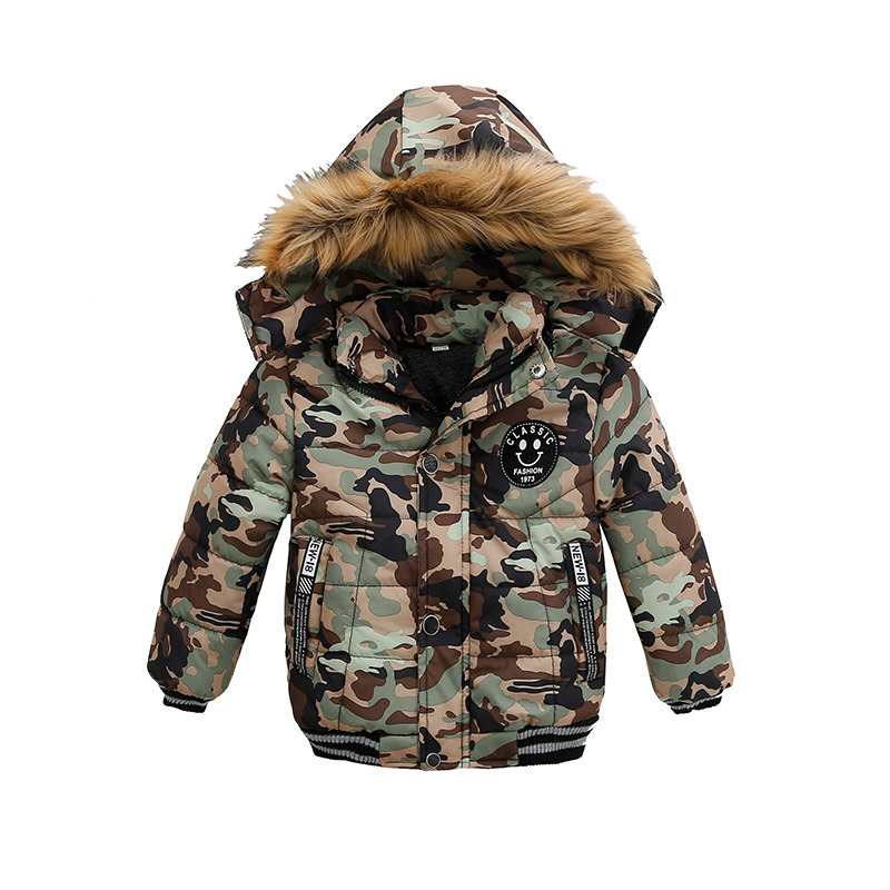 Winter Children Cotton Down Jacket Boy Long Jacket Camouflage Parka Kids Coats A