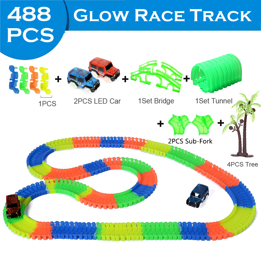 328-648pcs Luminous Racing Track Toys DIY Assembly Electric Race Track Magic Rail Flexible Tracks With LED Car Glow In The Dark