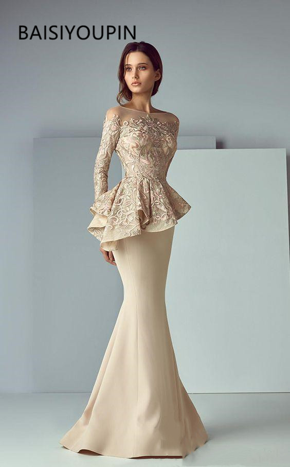 Champagne Lace Stain Peplum Long Evening Formal Wear   Dresses   2019 Sheer Neck Long Sleeve Dubai Arabic Mermaid   Prom     Dress