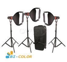 3 pces CAME TV boltzen 55w fresnel focalizável led pacote bicolor led luz de vídeo