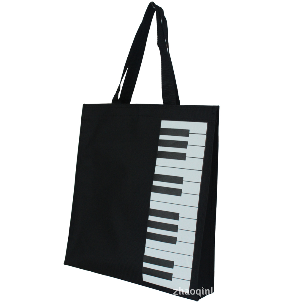 Black Piano Printed Canvas Tote Female Single Shopping Bags Large Capacity Women Beach Bags Casual Tote Feminina