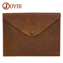 JOYIR Genuine Leather Document Bag 2019 Fashion Mens Clutches A4 Ipad Solid Vintage Hasp Handbag For Men Male