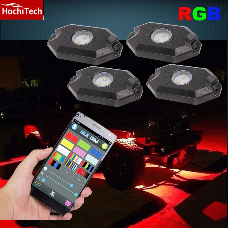 HochiTech Auto car SUV pickup truck RGB multi color Bluetooth IP68 100% Waterproof Aluminum led rock light for jeep etc. universal pu leather car seat covers for toyota corolla camry rav4 auris prius yalis avensis suv auto accessories car sticks