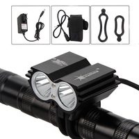 Black 7000 LM Cycling Lamp 2 X XM L T6 LED Bike Light Front Bicycle Headlight
