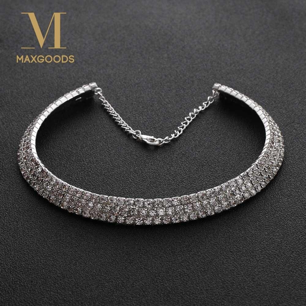 1 Stücke Neue Heiße Mode Schöne Frauen Voller Kristall Halsband Halskette Für Frauen Hochzeit Weihnachten Partei Schmuck Clear-Cut-Textur