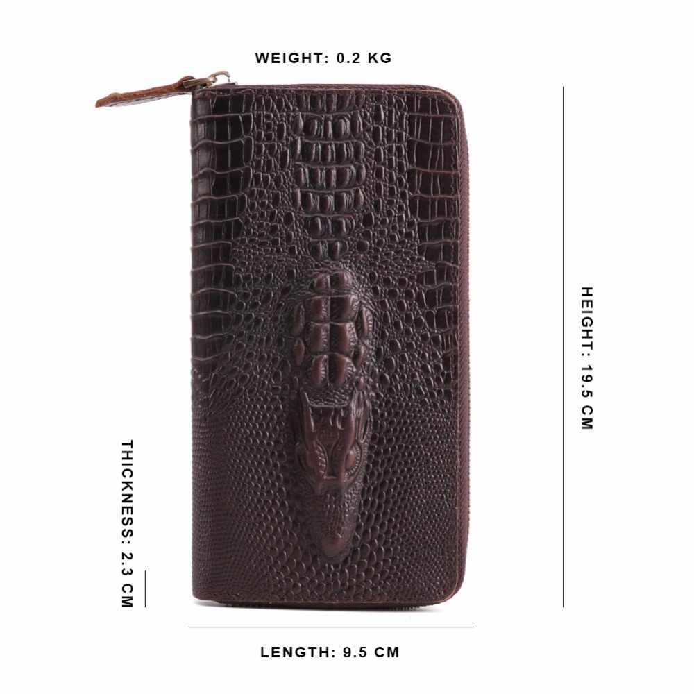 JOYIR 3D тиснение кожи крокодила мужские кошельки Длинные молнии телефон Бизнес Мужские клатчи для мужчин карты случае клатч браслет