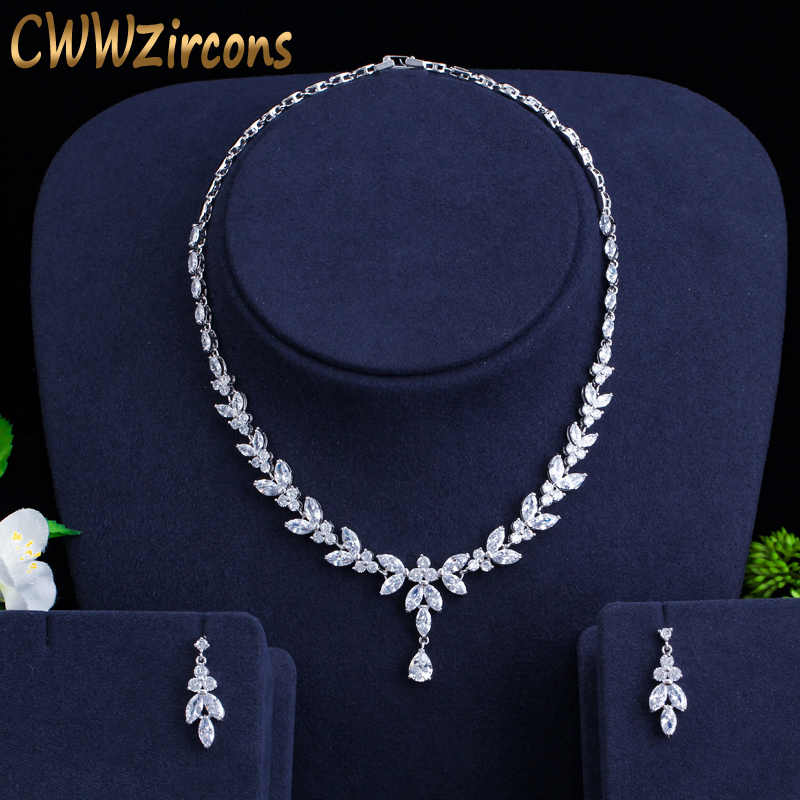 CWWZircons Brilliant Cubic Zircon Party Costume Necklace Earrings Wedding Bridal Jewelry Sets Dress Accessories T326