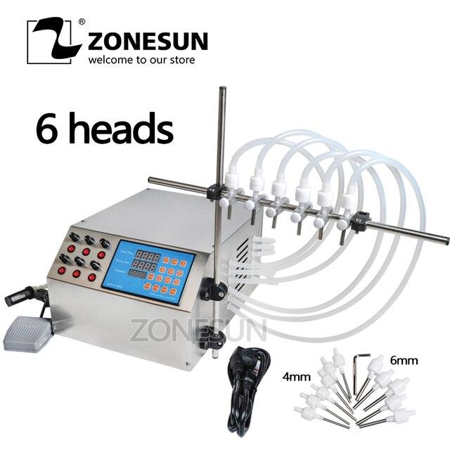 ZONESUN 6 Heads Nozzle Liquid Perfume Water Juice Essential Oil Electric Digital Control Pump Liquid Filling Machine