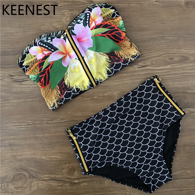 KEENEST Retro Floral Biquini Zipper Black High Waist Bikini Swim Swimwear Women Padded Bra floral underwire high waist bikini