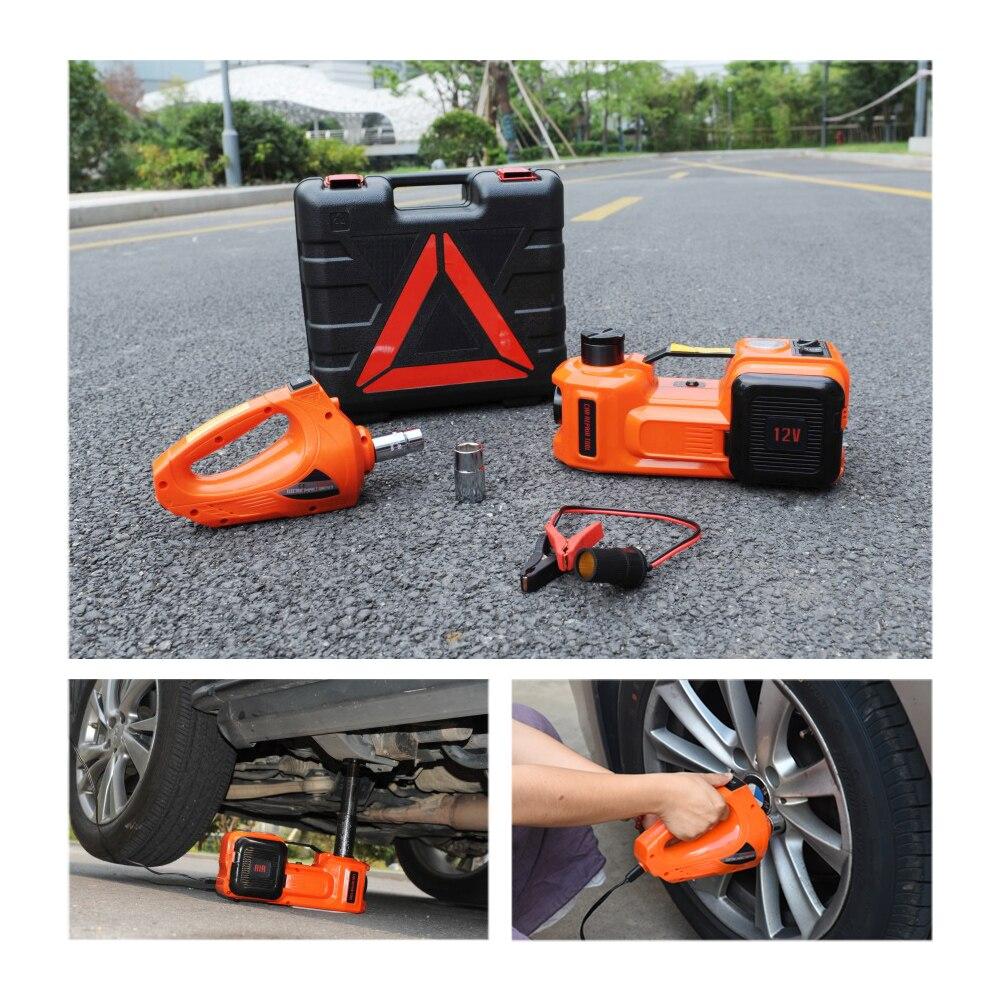 Gato hidráulico eléctrico de 12V y 5 toneladas, neumático portátil, llave de impacto, llave de impacto, Inflador de neumáticos, luz LED 4 en 1 - 5
