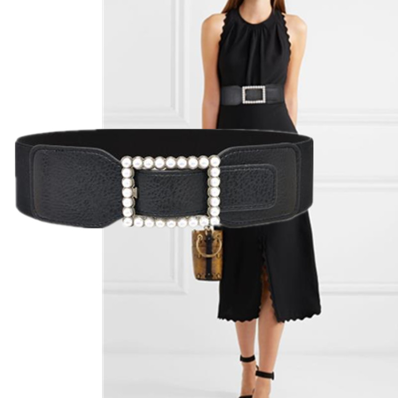 6cm Fashion Wide Dress Belt Square Bead Buckle Black PU Leather Thicken Material Cumberbund Belt Apparel Accessories Waistbands
