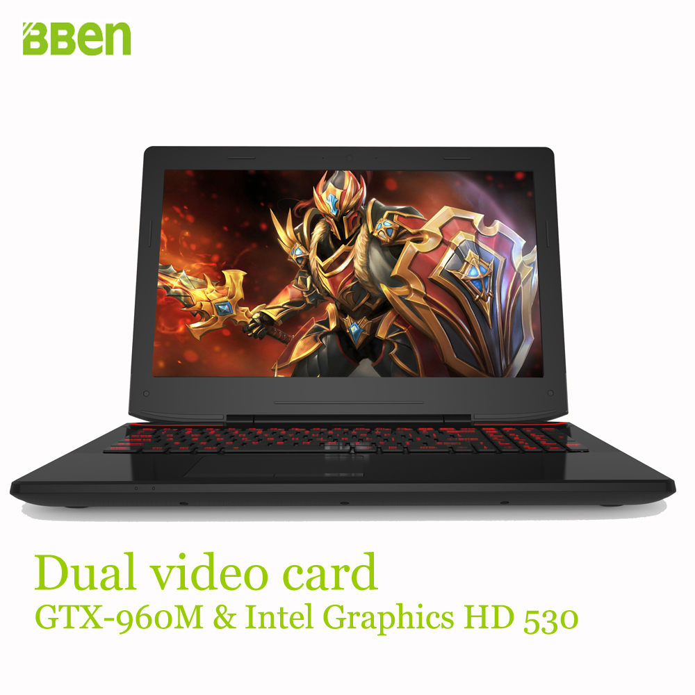 Bben gaming laptop computer windows10 15.6inch , DDR4 RAM 8GB , SSD 128GB , 1TB HDD, i7-6700HQ intel ultrabook quad cores