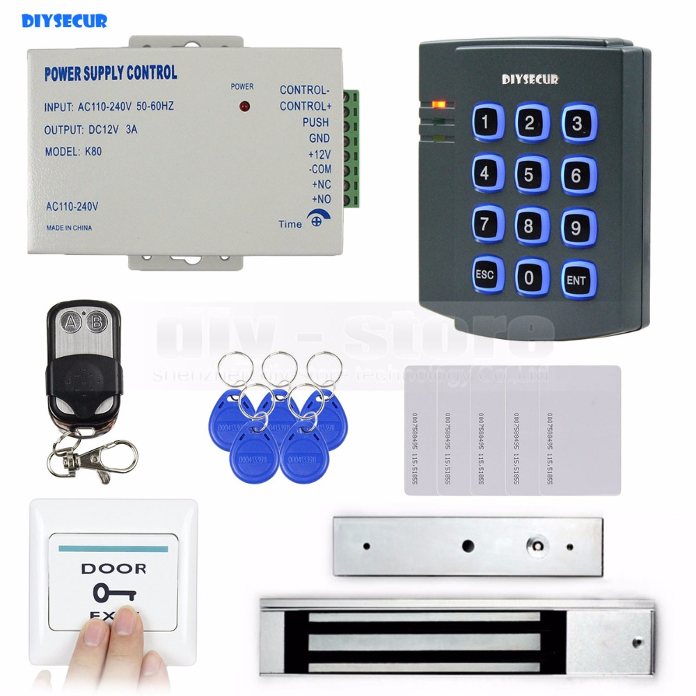 DIYSECUR Complete 125KHz RFID Keypad Access Control Security System Kit + 280kg Magnetic Lock for Home/Office Use diysecur magnetic lock door lock 125khz rfid password keypad access control system security kit for home office