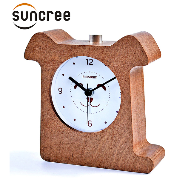 Dog print Snooze wooden clock for lovers kids gifts Sweep Movement Backlight Alarm Clock Desktop reloj Despertador with Light
