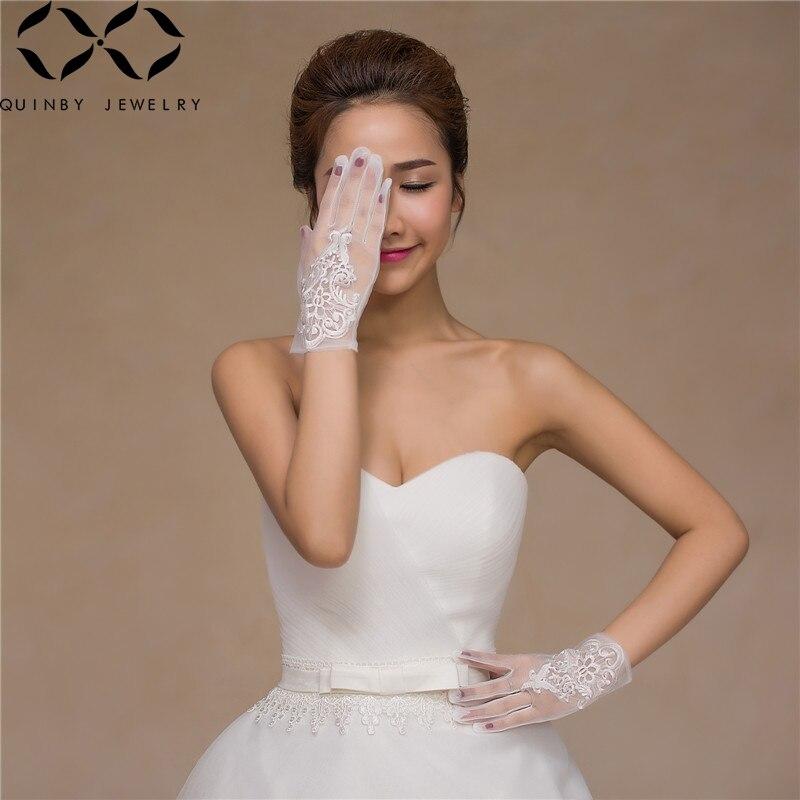 Quinby White Wedding Gloves Women Short Bridal Gloves Lace Tulle White Wrist Length Gants Girl Wedding Party Gloves For Bride Q5