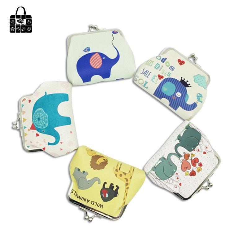 Rose Diary New Cartoon Elephant Fashion Coin Purse Child Boy Girl Creative Small Wallet Female Key Bag Card Bag Small Gift
