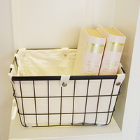 Nordic Style Storage Basket Metal Wrought Iron Clothes Books Magazine Home Bathroom Kitchen Desktop Storage Box Debris Organizer