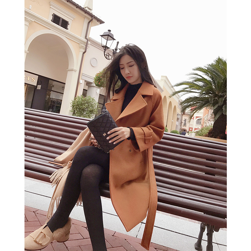 Mishow 2018 autumn and winter woolen coat female Mid Long New Korean temperament women s popular