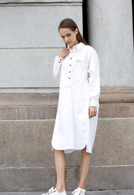 6439db206e21 Harajuku Bluse Frühling Herbst Neue Frauen Lose Beiläufige Lange Hemd Kleid  Weiblich Lange Weiße Bluse Plaid