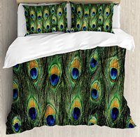 Peacock Duvet Cover Set, Peacock Tail Feathers Tropical Exotic Animals Close up Picture Artwork, 4 Piece Bedding Set
