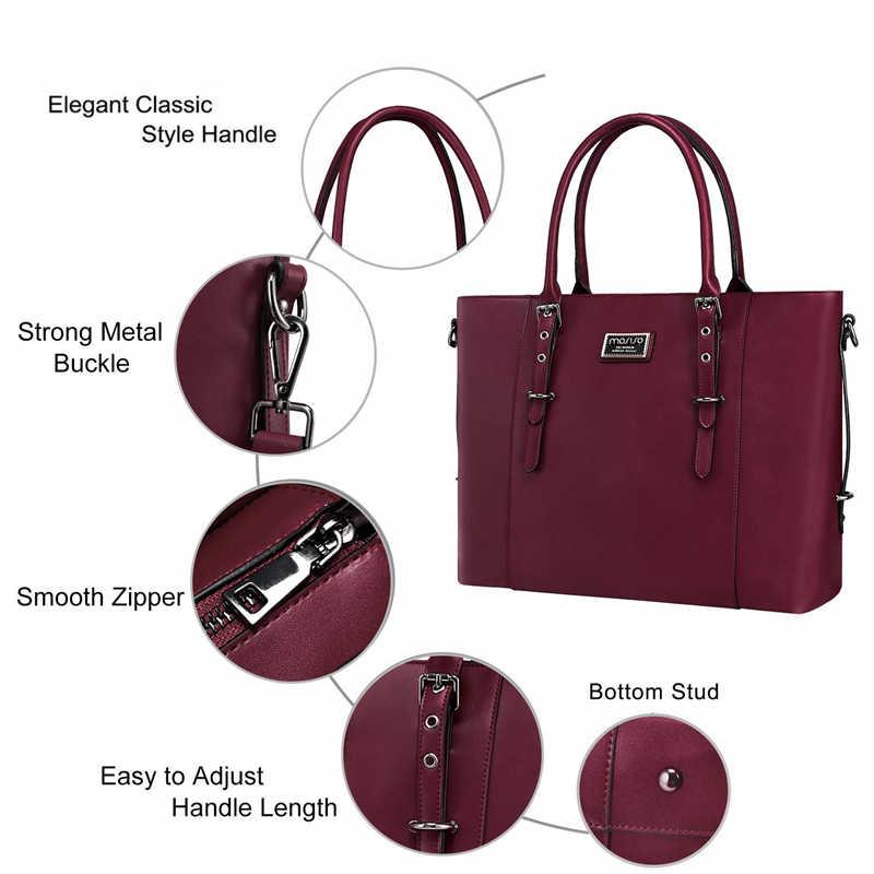 MOSISO ファッション Pu レザー女性 13.3 14 15 15.6 インチ防水ノートブックバッグケースブリーフケースハンドバッグメッセンジャー